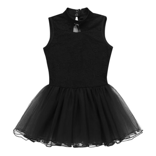 Girl Ballet Dance Tutu Dress Kids Off Shoulder Dancewear Mock Neck Fancy Costume