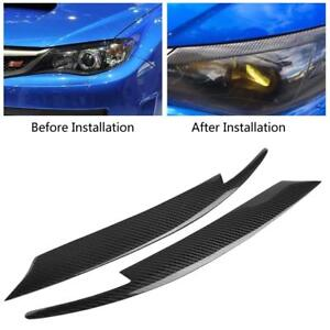 2x-Carbon-Fiber-Headlight-Eyelids-Eyebrows-For-Subaru-Impreza-WRX-STI-2008-2011