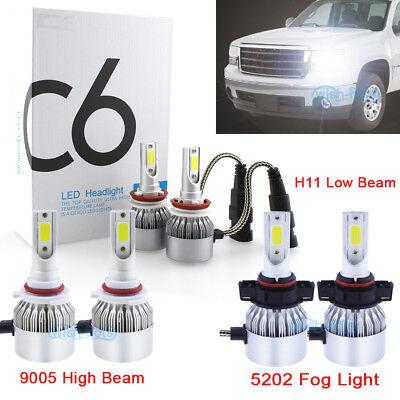 LASFIT H11 9005 LED Headlight Bulbs for GMC Sierra 1500 2007-2013 High Low Beam