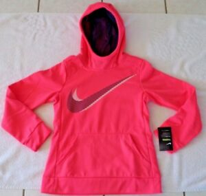 6a2d572367833 GIRLS SIZE M (10-12) NIKE GIRLS THERMA TRAINING HOODIE PEACH/NAVY ...