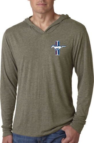 Mens Light Weight Hoodie Ford Mustang The Legend Lives Crest Pocket Print Hoody