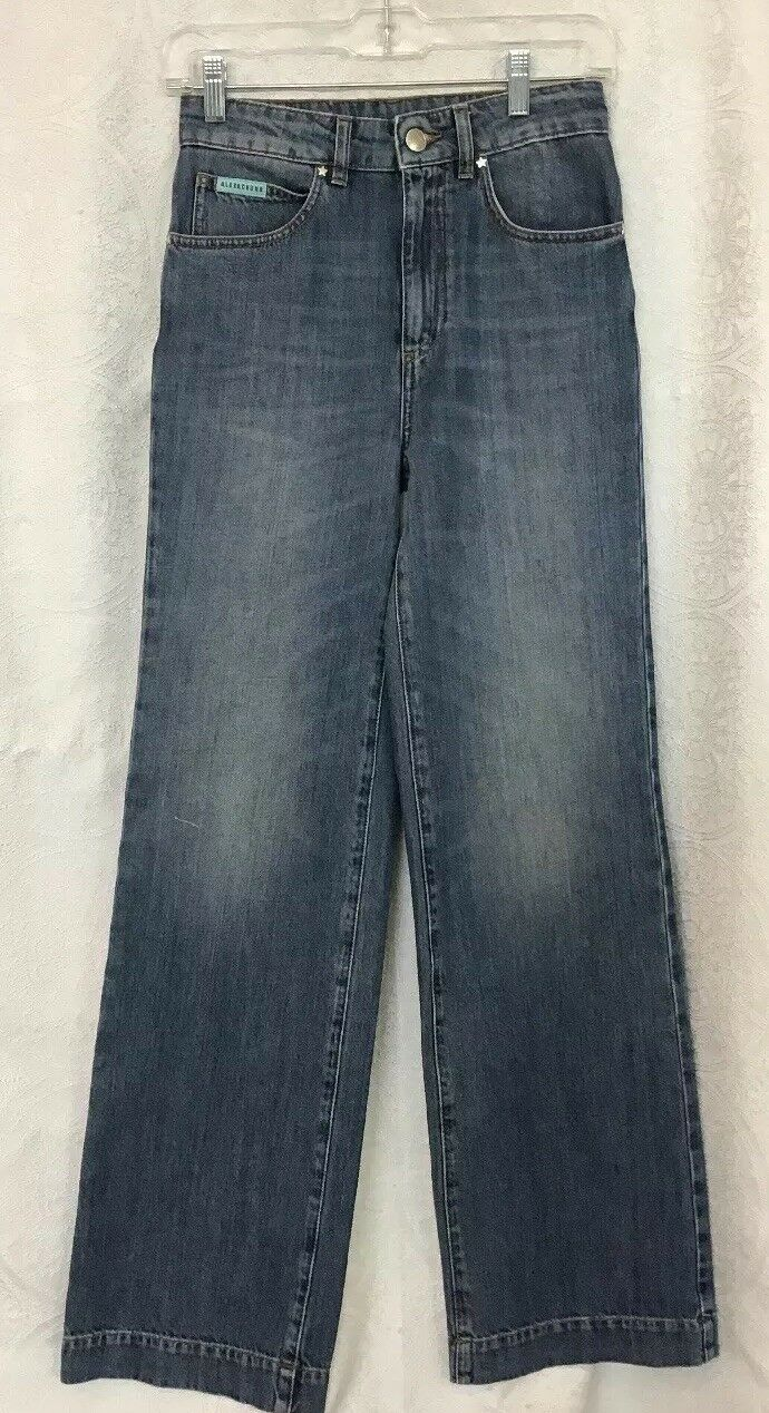 Alexa Chung Faded bluee Denim Pacifico Jeans High Rise Wide Leg Nwt Size 24
