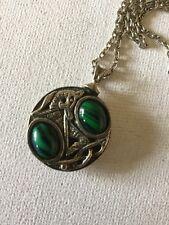 Vintage Miracle Pendant Necklace Scottish Celtic, Malachite Style Glass