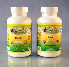 Biotin 5000 mcg, High Quality antioxidant, Vitamin A - 200 capsules (2x100)