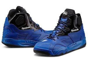 99dd5217849 Reebok OXT Pump Mid Fashion Basketball Sneakers Blue Black New Mens ...