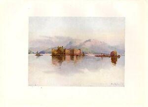 Stampa-antica-CASTELLI-di-CANNERO-Cannobio-Lago-MAGGIORE-1905-Old-antique-print