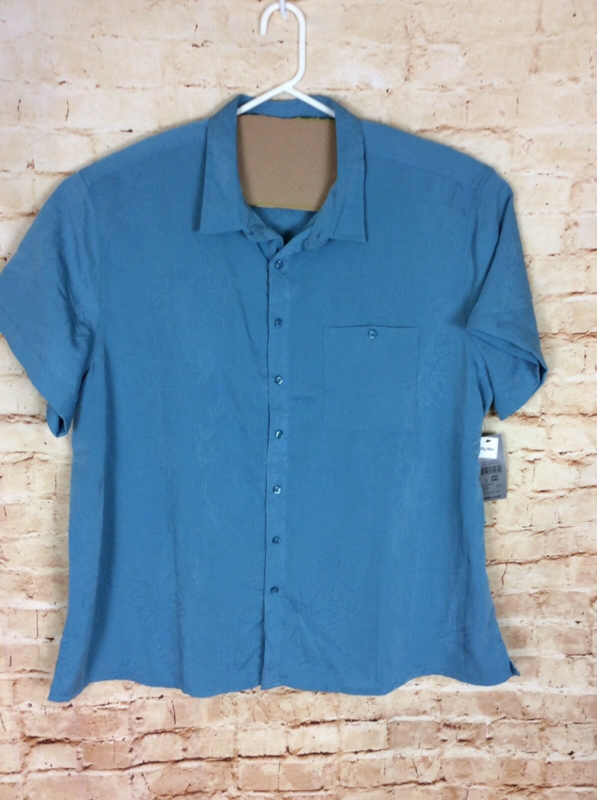 B Line Sport Men's 3XL Palm Tree Pattern Button Front Down Shirt Teal bluee- NWT
