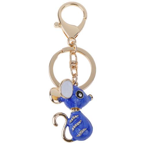 Rat Mouse Keychain Rhinestone Crystal Pendant Charm for Handbag Purse Bag FL