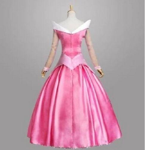 Ladis Sleeping Beauty Princess Aurora Gorgeous Dress Fancy Costume Pink /& Blue