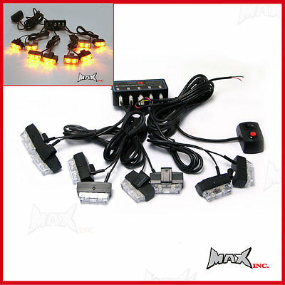 8 Piece Grill Mount LED Emergency Flashing Strobe Light Set - Amber / Orange