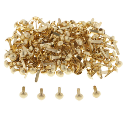 200pcs Gold Round Head Metal Brads Paper Fasteners Scrapbook Embellishment