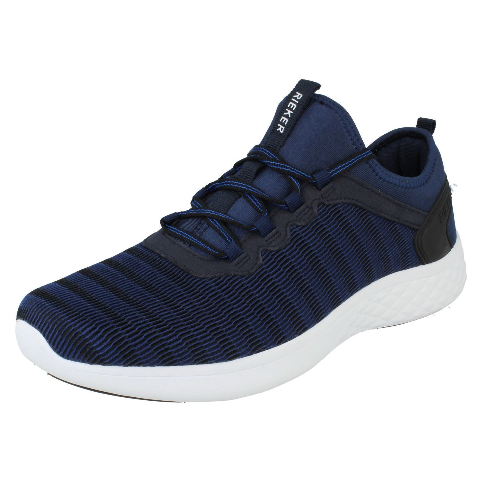 Mens Rieker B9753 Blue Casual Slip On Trainers
