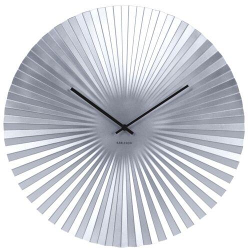 Wanduhr Sensu Stahl silberfarben Design Uhr Quarzuhr geräuscharm Wohnzimmer 50cm