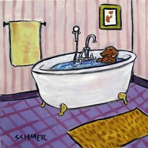 DACHSHUND dog taking a bath in a clawfoot tub 8x10  art print bathroom