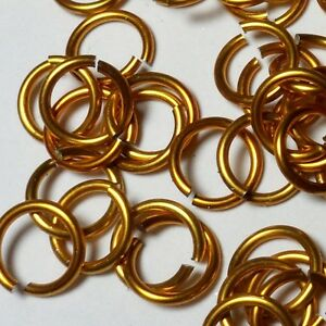 GOLD Anodized Aluminum JUMP RINGS 200 3/8 16g SAW CUT Chainmail chain mail