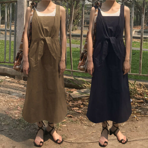 Womens Sleeveless Dungarees Bib Pinafores Prom Baggy Kaftan Maxi Dress Plus Size