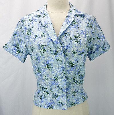 Vintage 50s Jill Modes Blue Floral Print Button-Front Pinup Blouse 38 Bust M