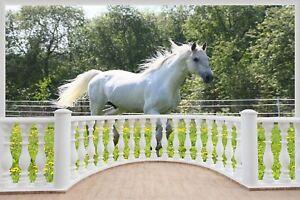 Huge-3D-Balcony-White-Horse-Wall-Stickers-Mural-Art-Decal-Wallpaper-1114