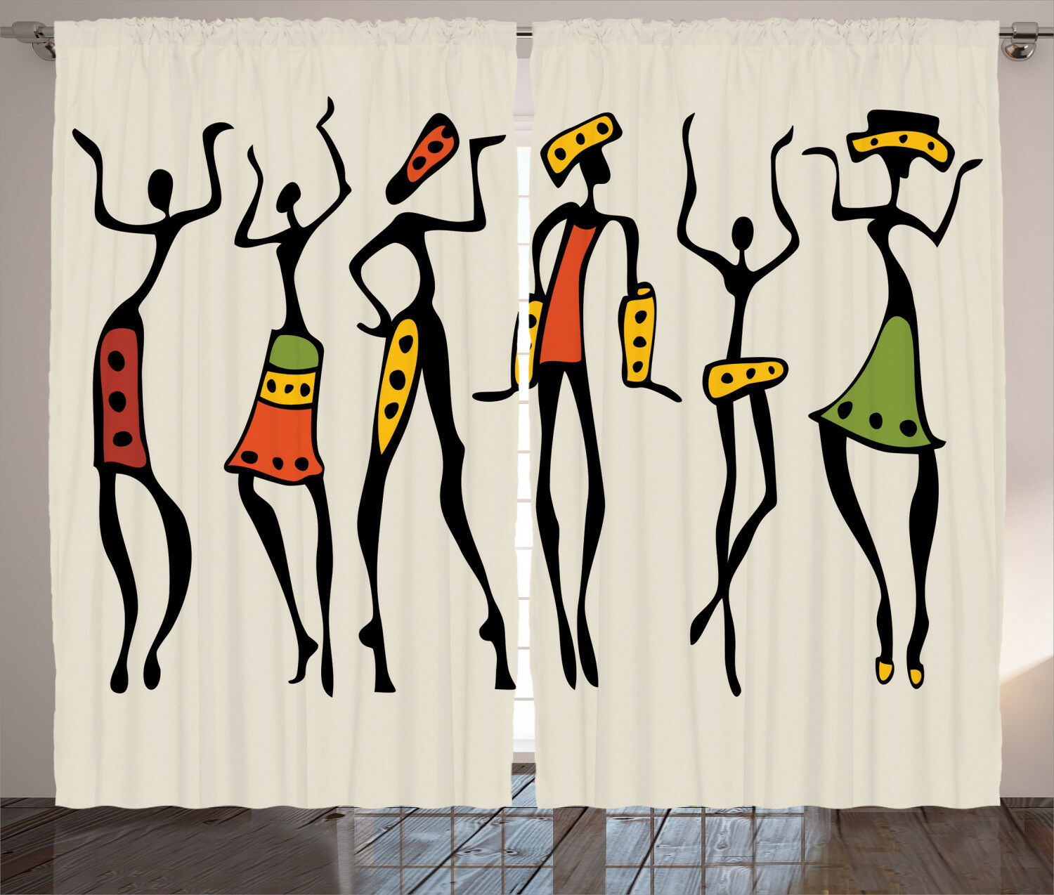 Afro Curtains Curtains Curtains African Clan Dancer Ethnic Window Drapes 2 Panel Set 108x84 Inches 75ef99