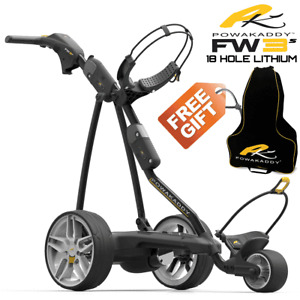 Powakaddy FW3s Black Electric Golf Trolley +18 Hole Lithium Battery +Free Gift