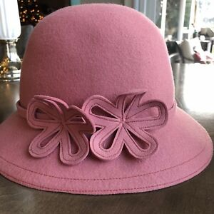 ab5ed37e37c15 Women s ANN TAYLOR LOFT 100% Wool Pink Casual Cloche Fall Winter Hat ...