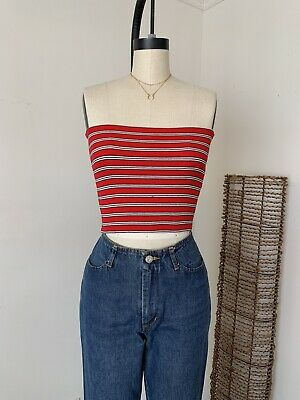NEW brandy melville red//white striped Cotton Cropped Jenny Tube  top NWT XS//S
