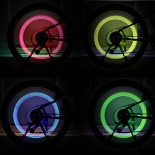 2Pcs Flash Neon LED Motorbike Car Bike Wheel Tire Tyre Valve Cap Lamp Light Bulb