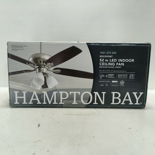Hampton Bay Ceiling Fan 52 Inch Rockport with LED Light Kit Brushed Nickel 51750