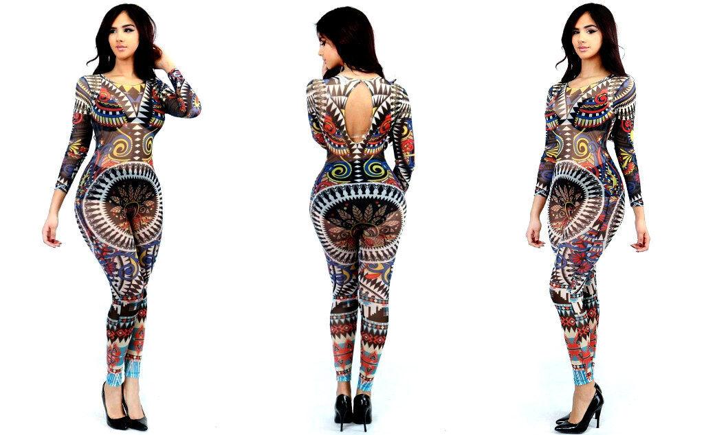 Sexy Women Ladies Summer Clubwear Playsuit J Lo  Tribal Print Jumpsuit Multi