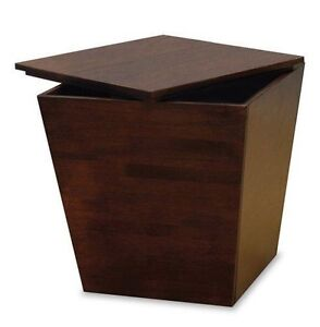 Image Is Loading Storage Ottoman End Coffee Table Wood Box Cube