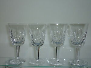SET-OF-FOUR-WATERFORD-LISMORE-WATER-WINE-GLASSES-GOBLETS-6-7-8-034-PRISTINE