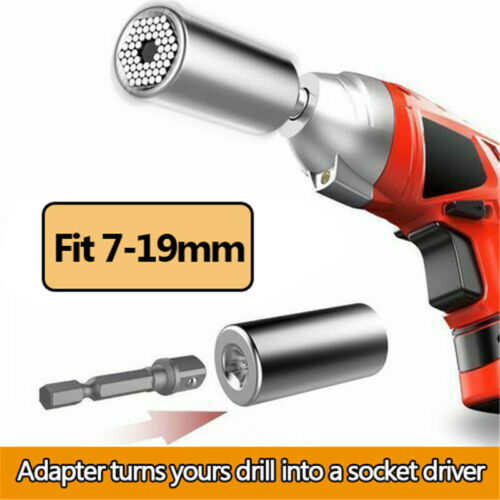 Universal 7-19mm Socket Wrench Spanners Power Grip Hand Tool Drill Adapter Set