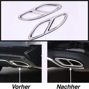 Top Links + Rechts Chrom Edelstahl Auspuffblende Auspuff Abdeckung Für Mercedes