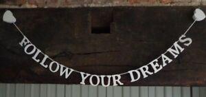 """""""follow Your Dreams's Crème En Bois Hanging Garland Sass & Belle Cadeau-afficher Le Titre D'origine Bas Prix"""
