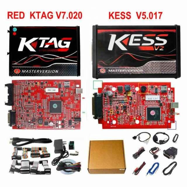 Red Kess V2 V5 017 And ktag V7 020 4 LED Master ECU Program Online Chip  Tuning