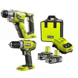 Ryobi-18v-Cordless-Rotary-Hammer-Drill-Skin-Cordless-Compact-Drill-Driver-Combo