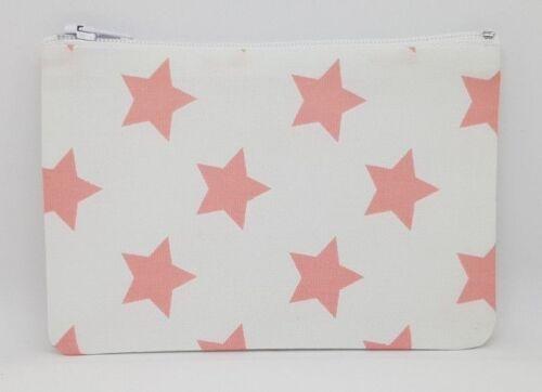 Peachy Pink Stars Fabric Handmade Zippy Coin Money Purse Storage Pouch