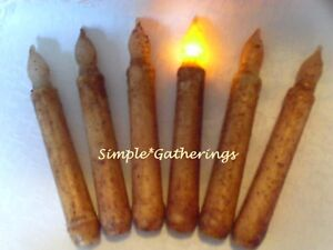 6-BURNT-IVORY-TIMER-TAPER-CANDLES-Grungy-6-25-034-6-50-034-Primitive-Rustic-Farmhouse