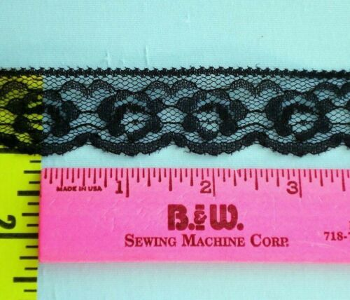 "Scalloped Lace Edging Vintage Flat Floral Lace Trim Edging 1/"" Black 15 yds #N19"