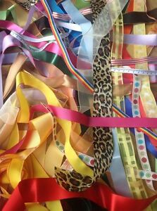 Mixed-Pack-of-Ribbon-Lucky-Dip-1-Metre-Lengths-Sewing-Craft-Assorted-NEW