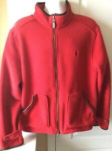 ba09ebf29 POLO RALPH LAUREN XL Mens Fleece Jacket Suede Leather Trim Red Full ...