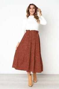 Retro flared maxi dress floral long skirt summer high waist women new pleated
