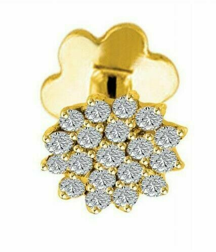 Details about  /Round Cut Diamond Solitaire Nose Stud Piercing Ring Pin 14K Yellow Gold Over