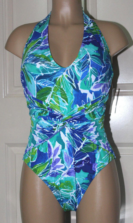 NEW Ralph Lauren Lush Tropical‑Print Plunging Twist‑Front 1pc swimsuit size 6