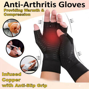 Copper-Arthritis-Gloves-Compression-Carpal-Tunnel-Fit-Finger-Joint-Pain-Relief-S