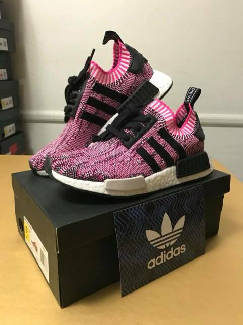 Bb2363 adidas NMD R1 PK Primeknit Boost Shock Pink Rose Black Size 7 Womens 2d6a049c1