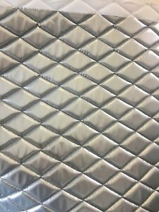 Silver Wet Fetish Patent Quilted Vinyl Fabric With 3 8 Foam Backing