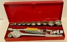 Vintage Craftsmanthorsen Metal Tool Box With Sockets Tools