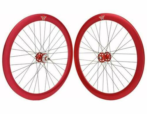 700c V 51mm Alloy Track Bike Wheel Set Sealed Bearing 32 Spoke 14g 3//8 Axle