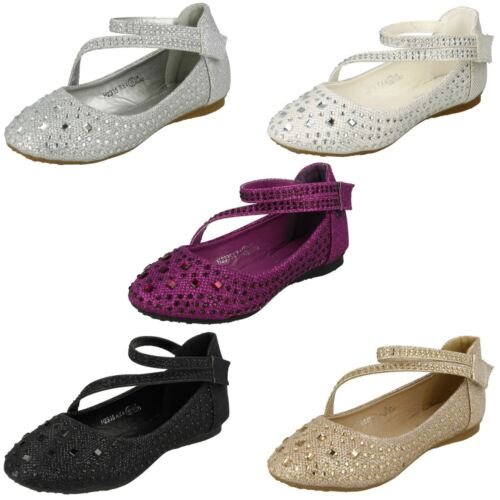 Girls Spot On Y Strap Glitter Party Shoes H2335